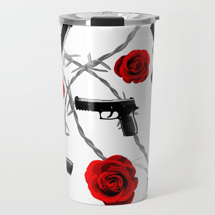 Roses Barbed Wire Guns Pattern Love Is War Travel Mug