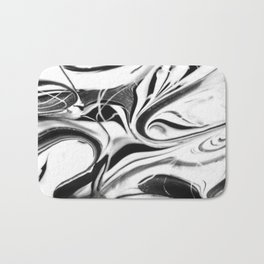 Black and white swirl - Abstract, black and white swirly, paint mix texture Bath Mat