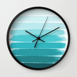Sapote - painted abstract brushstrokes ombre blue colorful bright coastal decor dorm college Wall Clock