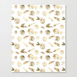 Gold Roses Rosette Pattern Golden on White Canvas Print