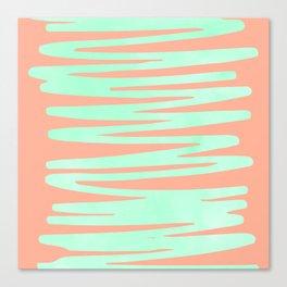 Sweet Life Soft Serve Peach Coral + Mint Meringue Canvas Print