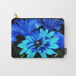 Electric Blue Flowers Carry-All Pouch