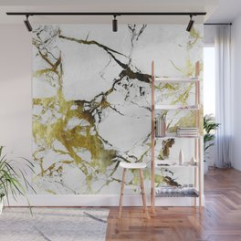 Gold-White Marble Impress Wall Mural