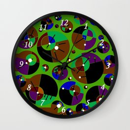 Bubble green black Wall Clock