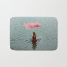 Beautiful woman swimming at the sea. Bath Mat