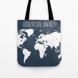 Adventure Awaits World Map in Navy Blue Tote Bag