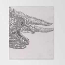 Happy Chameleon (pen and ink) Throw Blanket