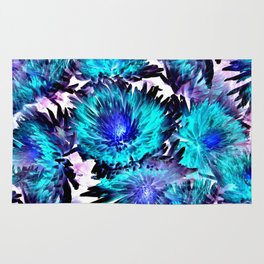 Turquoise Purple Abstract Flowers Rug