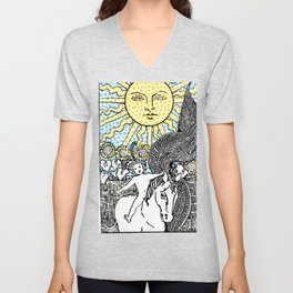 Modern Tarot Design - 19 The Sun Unisex V-Neck
