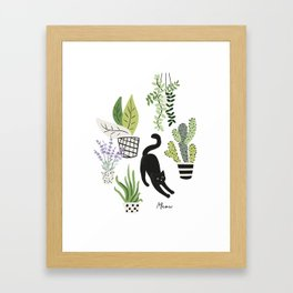 Black cat and plants in the pots. Morning stretch Framed Art Print