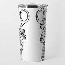 Hairdressing scissors isolated on white background Travel Mug