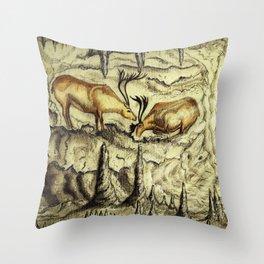 Rock Shelter Reindeer  Throw Pillow