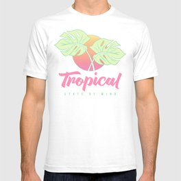Tropical State of Mind: Beach themed, in pink, orange and green T-shirt
