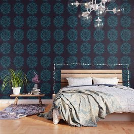 Blue Leaves Mandala Wallpaper