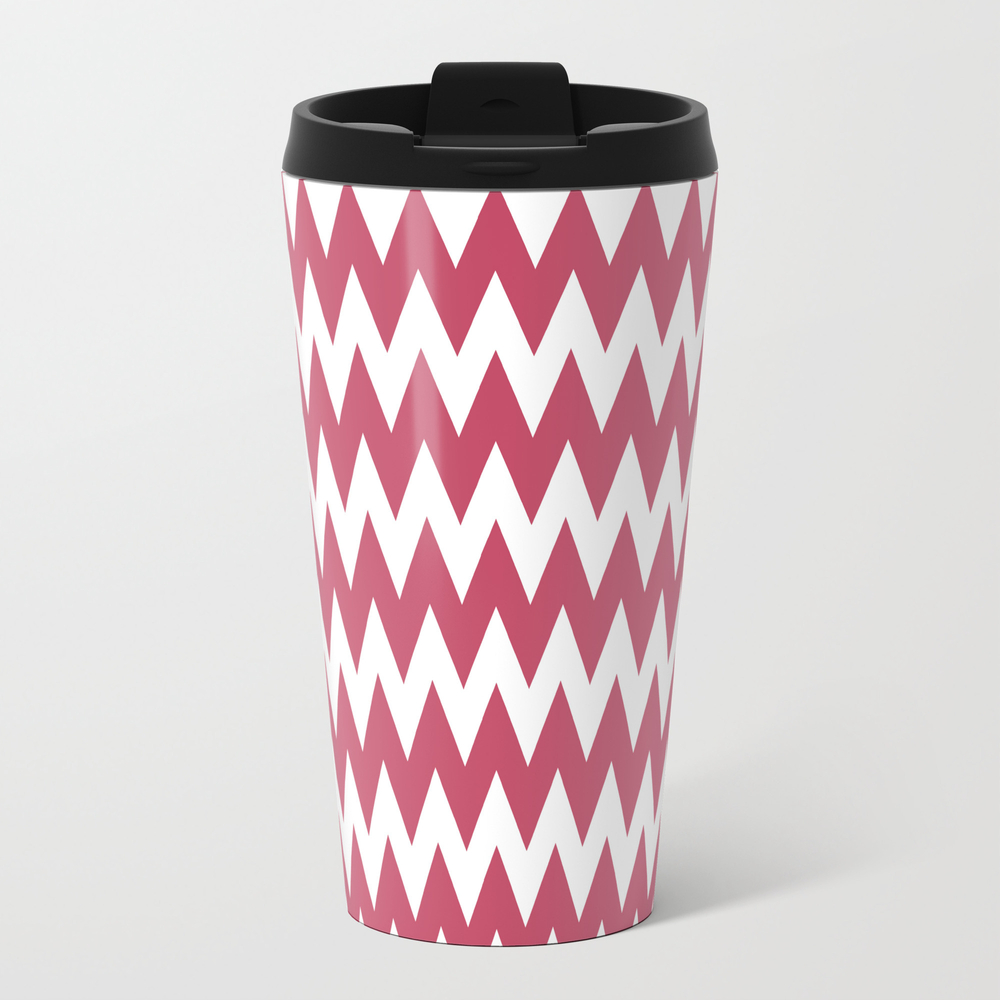 Pink And White Zigzag Chevron Pattern Travel Cup TRM884097