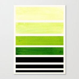 Sap Green Minimalist Mid Century Staggered Stripes Rothko Color Block Geometric Art Canvas Print