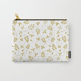 Gold Leaves Design on White Carry-All Pouch