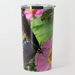 Butterfly on Pink Zinnia Travel Mug