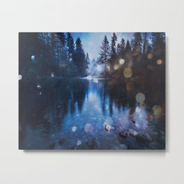 Magical Blue Forest Water Reflection - Nature Photography Metal Print