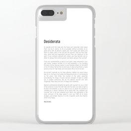 Desiderata #minimalism Clear iPhone Case