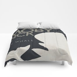 Moby Dick, The Whale, Herman Melville, book cover, american novel, nature, sea adventures, classics Comforters