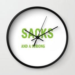 Heart Big Sacks Tight Ends Strong D Funny Football T-Shirt Wall Clock