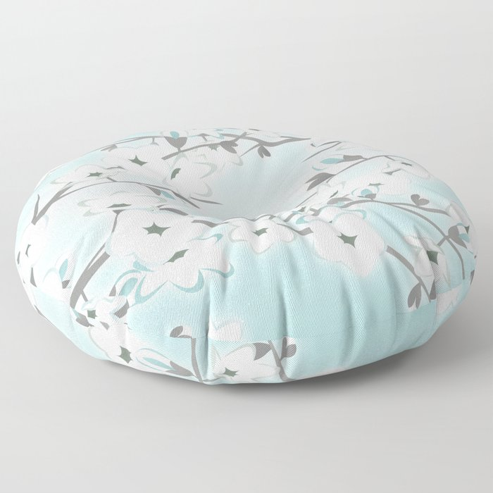 Cherry Blossoms Mint White Floor Pillow