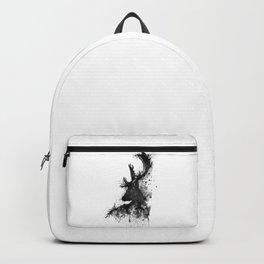Deer Head Watercolor Silhouette - Black and White Backpack