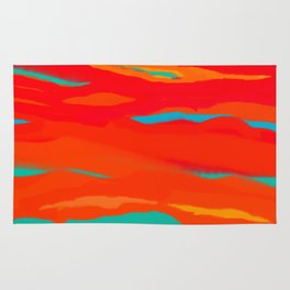 Ripped Turquoise Sunset Sky Rug
