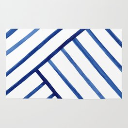 Watercolor lines pattern | Navy blue Rug