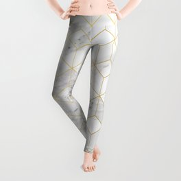 White Marble with Gold Cube Pattern Leggings