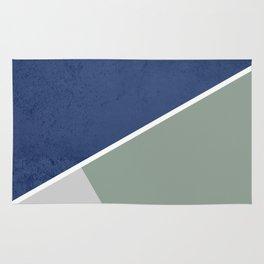 Navy Sage Gray Geometric Rug