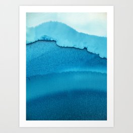 Ocean inspired alcohol ink art with all shades of turquoise blue Art Print