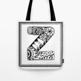Zentangle Z Monogram Alphabet Initials Tote Bag