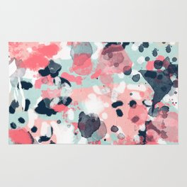 Isla - abstract painting navy mint coral trendy color palette summer bright decor Rug