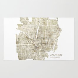 Jackson Mississippi watercolor city map Rug
