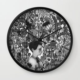 CHILD IN FLOWERS Wall Clock