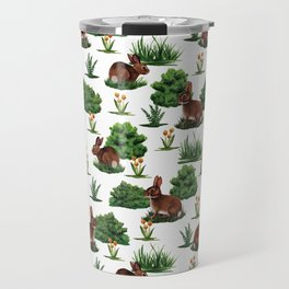 A Bevy Of Bunnies - Rabbit Pattern With Yellow Flower & Green Shrubs Travel Mug