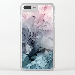 Blush and Payne's Grey Flowing Abstract Painting Clear iPhone Case