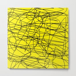 Yellow with black scribbling lines, less is more Metal Print