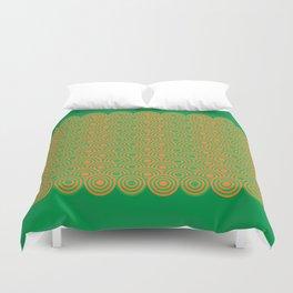 op art pattern retro circles in green and orange Duvet Cover