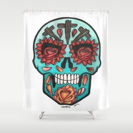 Teal Calavera with Roses Shower Curtain