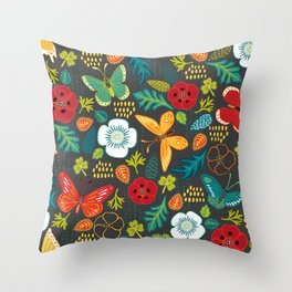 The Butterfly Garden - Charcoal Throw Pillow