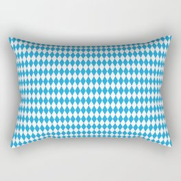 Oktoberfest Bavarian Blue and White Medium Diagonal Diamond Pattern Rectangular Pillow