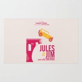 Jules et Jim, François Truffaut, minimal movie Poster, Jeanne Moreau, french film, nouvelle vague Rug