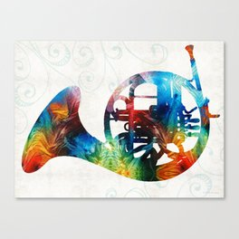 Colorful French Horn - Color Fusion By Sharon Cummings Canvas Print
