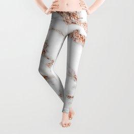Rose gold shimmer vein marble Leggings