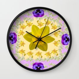 PURPLE PANSIES & DAFFODILS FLOWERS GARDEN MODERN ART Wall Clock