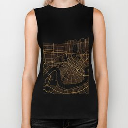 Black and gold New Orleans map Biker Tank