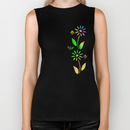 Bees And Flowers Biker Tank